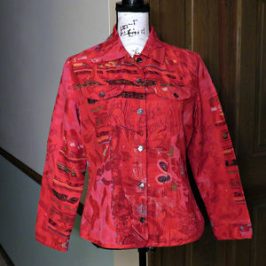 CHICO'S Red Silk Textured Jacket / Shirt - Size S